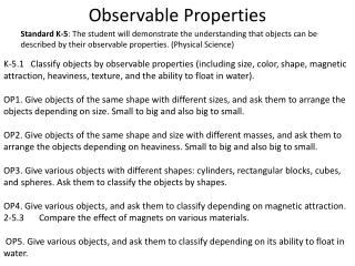 Observable Properties