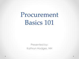 Procurement  Basics 101