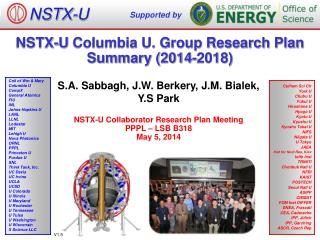 NSTX-U  Columbia U. Group Research Plan Summary (2014-2018)