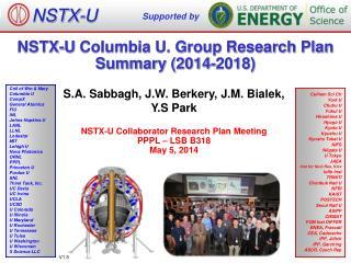 NSTX-U  Columbia U. Group Research Plan Summary (2014-2018)