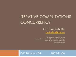 Iterative Computations Concurrency