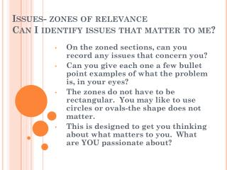 Issues- zones of relevance Can I identify issues that matter to me?
