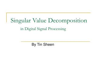 Singular Value Decomposition  in Digital Signal Processing