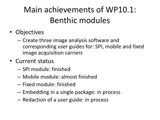Main  achievements  of WP10.1:  Benthic  modules