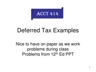 Deferred Tax Examples