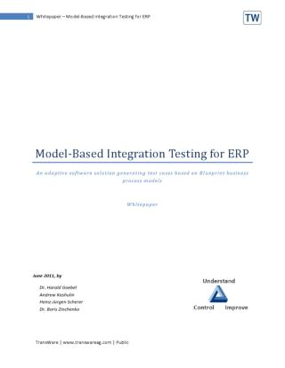 Model based testing for Integration and Regression Tests in