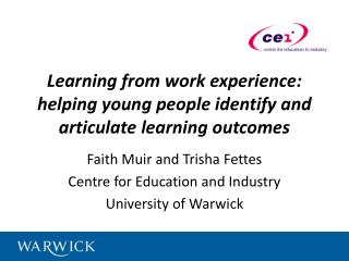Learning from work experience: helping young people identify and articulate learning outcomes