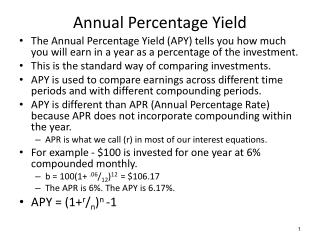 Annual Percentage Yield