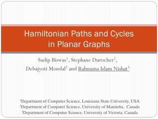 Hamiltonian Paths and Cycles  in Planar Graphs