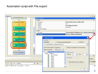 Automation script with File export: