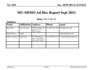 MU-MIMO Ad Hoc Report Sept 2011