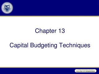 Chapter 13 Capital Budgeting Techniques