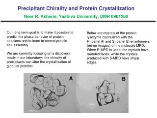Below are crystals of the protein lysozyme crystallized with the