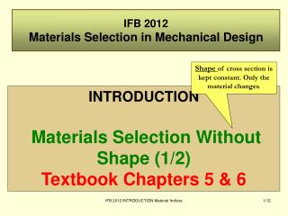 IFB 2012 Materials Selection in Mechanical Design