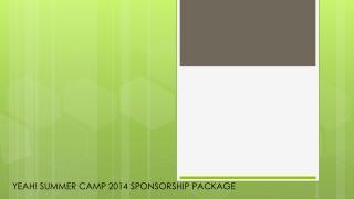 YEAH! SUMMER CAMP 2014  SPONSORSHIP  PACKAGE