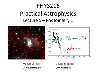 PHYS216  Practical Astrophysics Lecture 5  – Photometry 1