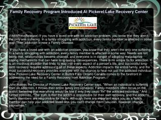 Family Recovery Program Introduced At Pickerel Lake Recovery