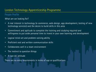 London  Technology Apprenticeship Programme