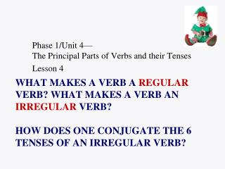 Phase 1/Unit 4� The Principal Parts of Verbs and their Tenses Lesson 4
