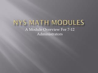 NYS Math Modules