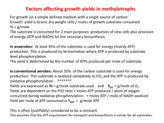 Factors affecting growth yields in  methylotrophs