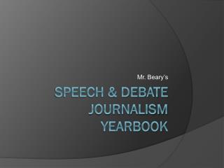 Speech & Debate journalism yearbook