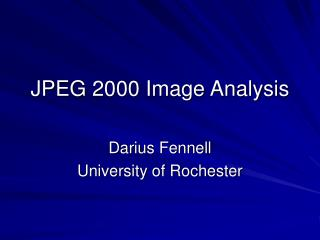 JPEG 2000 Image Analysis