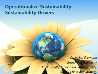 Operationalize Sustainability: Sustainability  Drivers