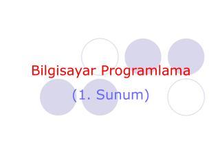 Bilgisayar Programlama (1.  Sunum )