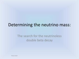 Determining the neutrino mass: