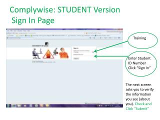 Complywise: STUDENT Version  Sign In Page