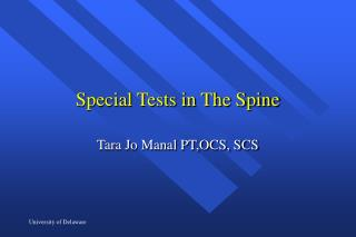 Special Tests in The Spine