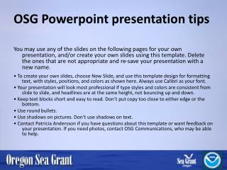 OSG  Powerpoint  presentation tips