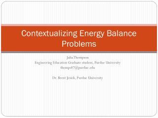 Contextualizing Energy Balance Problems