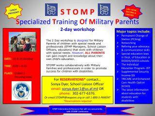 S T O M P S pecialized T raining O f M ilitary P arents 2-day workshop