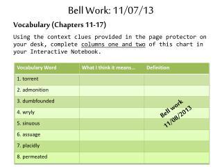 Bell Work: 11/07/13