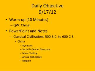 Daily Objective 9/17/12