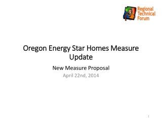Oregon Energy Star Homes Measure Update
