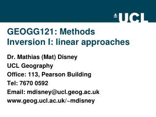 GEOGG121: Methods Inversion  I :  linear approaches