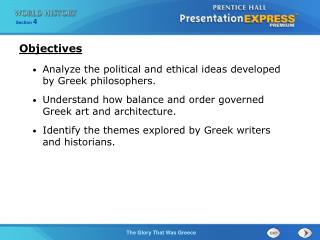 Analyze the political and ethical ideas developed by Greek philosophers.
