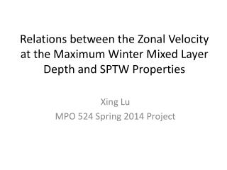 Xing Lu MPO 524 Spring 2014 Project