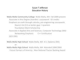 Susan T Jefferson Education History
