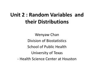 Unit 2 : Random Variables  and their Distributions