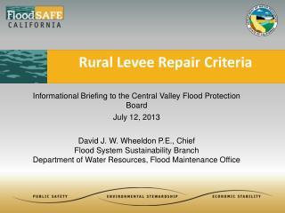 Rural Levee Repair Criteria