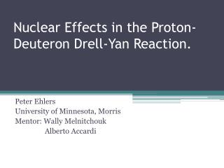 Nuclear Effects in the Proton-Deuteron  Drell -Yan Reaction.