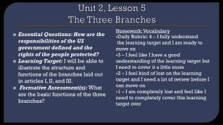 Unit 2, Lesson 5 The Three Branches