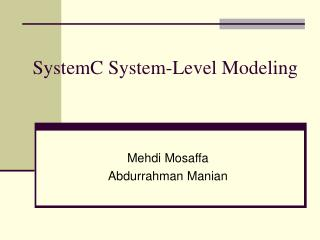 SystemC System-Level Modeling
