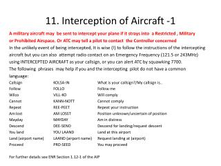 11. Interception of Aircraft -1