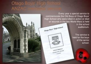 The service is held for the boys of the senior school.