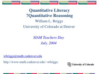 Quantitative Literacy ?Quantitative Reasoning
